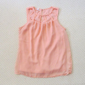 Maurices Filmy XS Top Flowy Sleeveless Peach EUC
